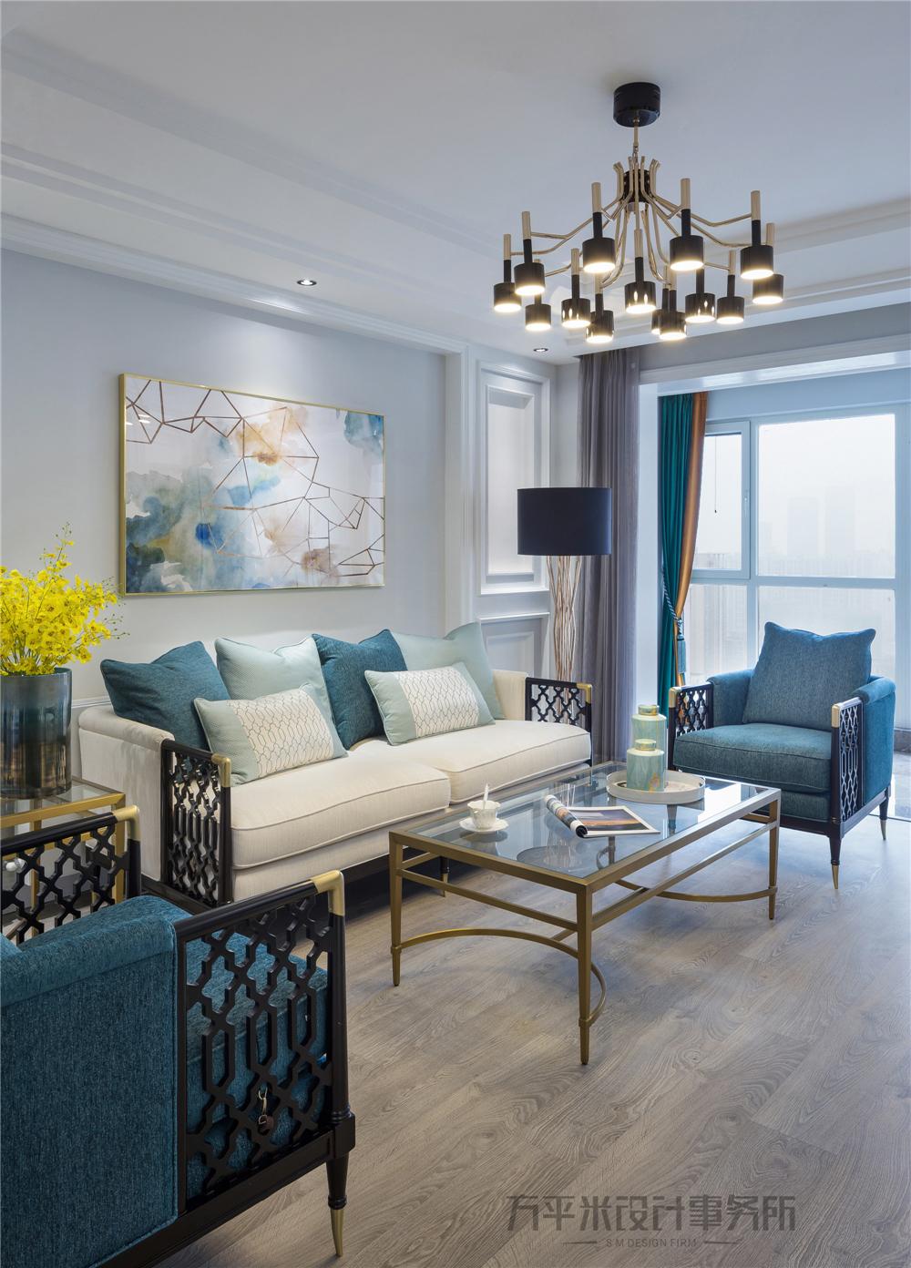 124㎡现代美式装修客厅吊灯设计