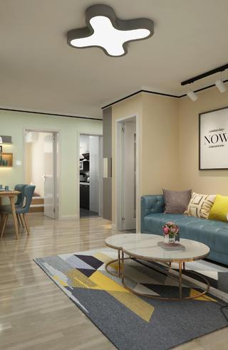 现代风格两居装修客厅吸顶灯设计