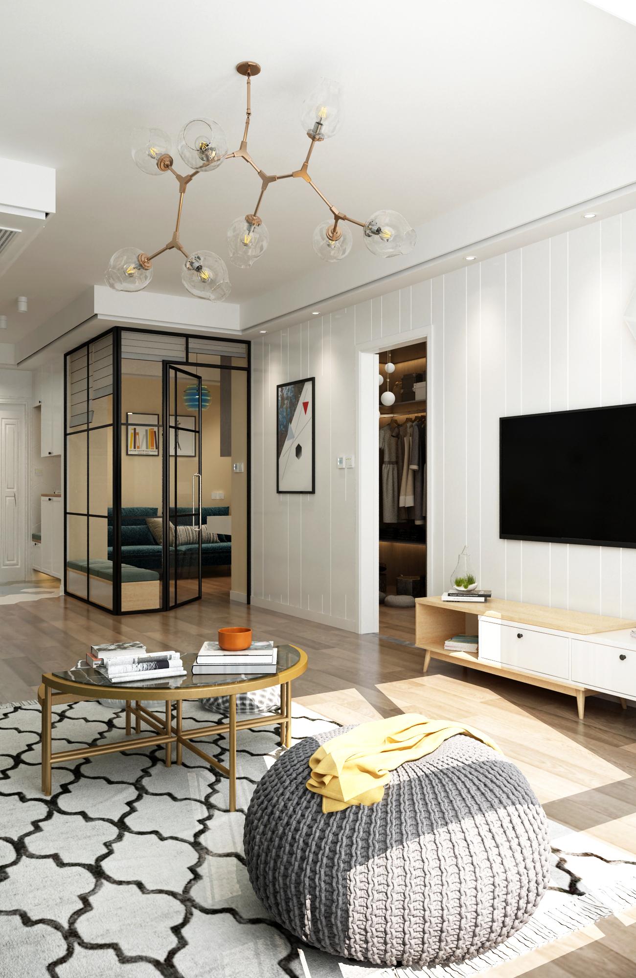 简约北欧两居装修客厅吊灯设计