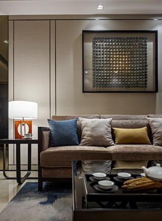 现代中式两居沙发背景墙装修效果图