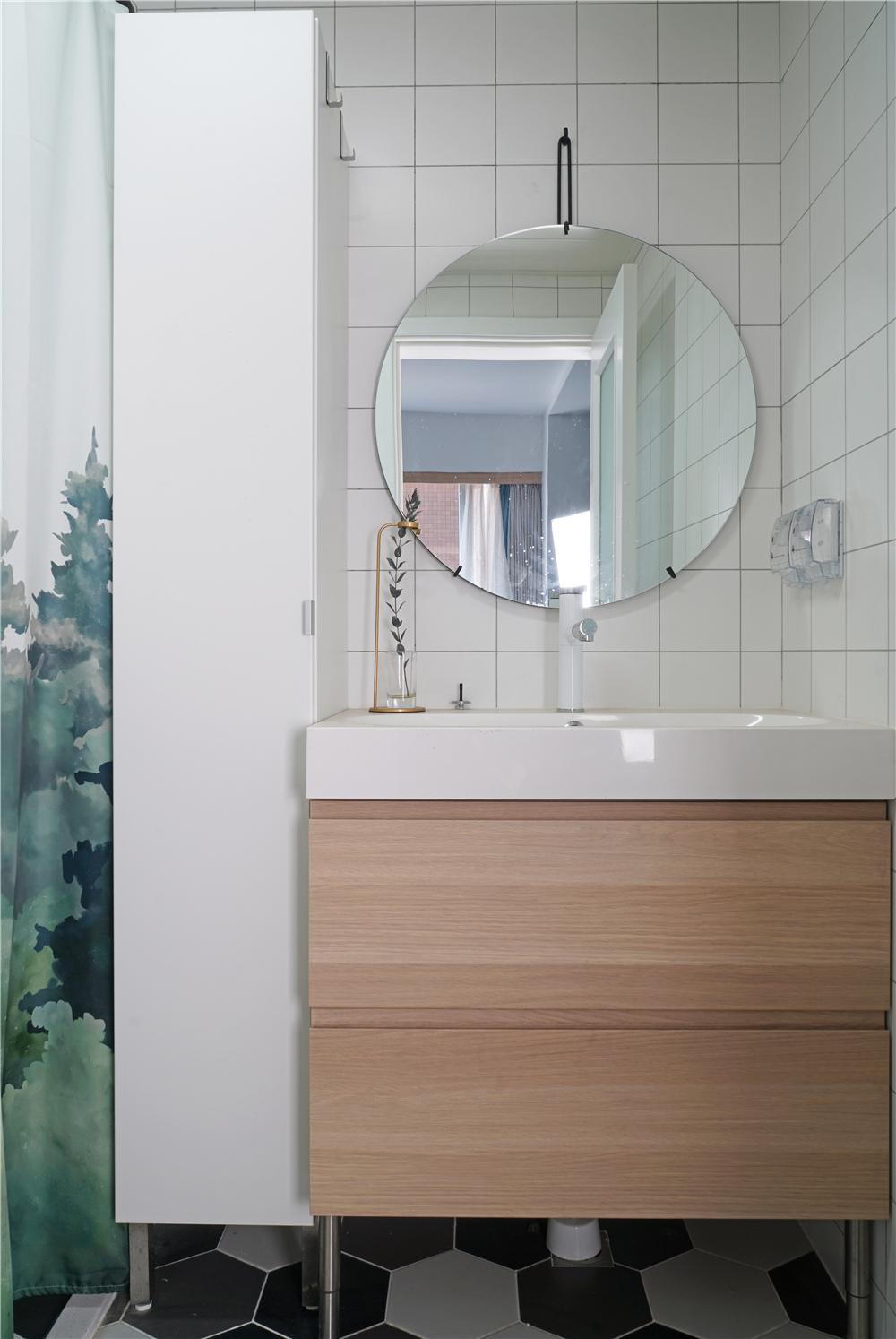 75平北欧风格装修洗手台设计