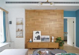 75平北欧风格客厅背景墙装修效果图