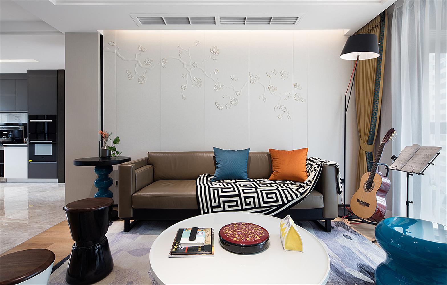 120㎡现代简约风沙发背景墙装修效果图