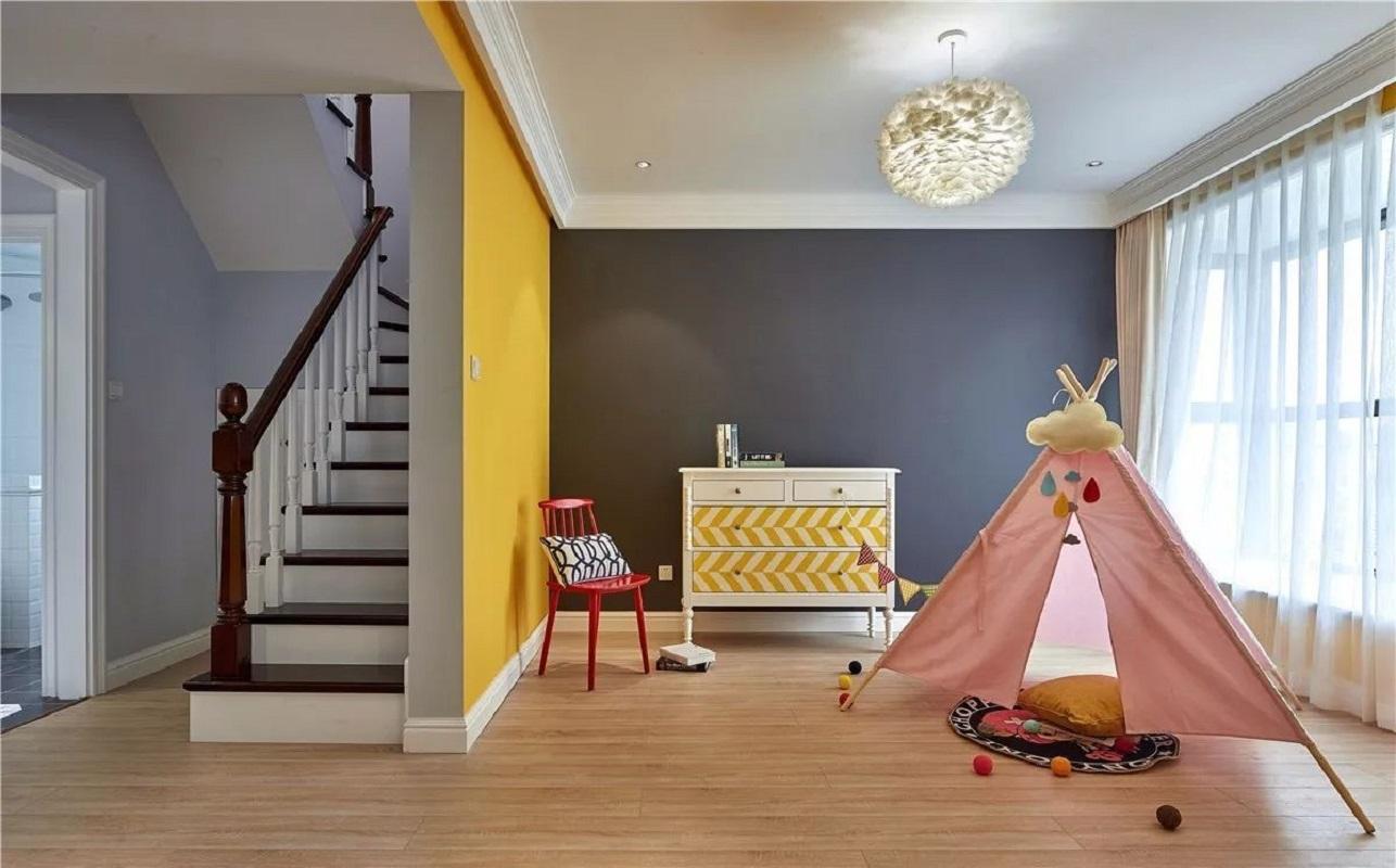130平美式风儿童游乐室装修效果图