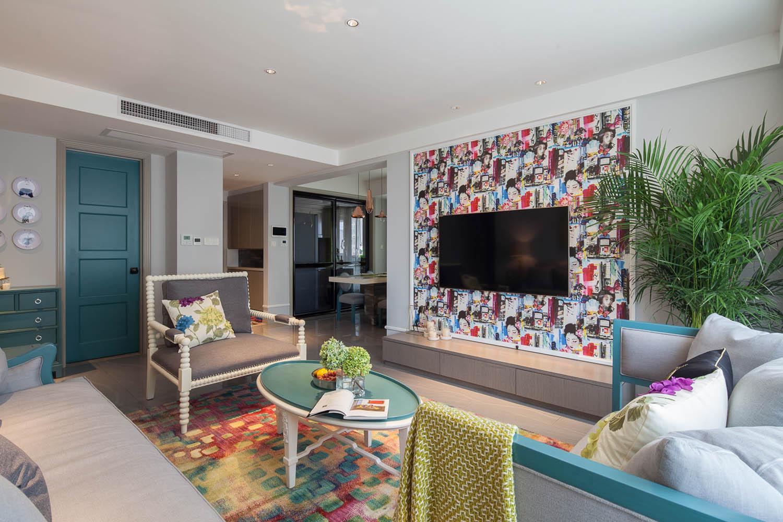 混搭风格三居客厅电视墙装修效果图