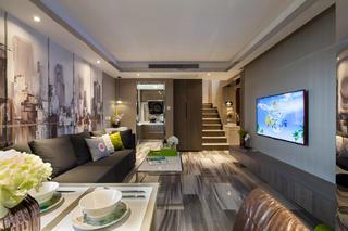 复式现代风格客厅装修效果图