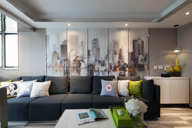 复式现代风格沙发背景墙装修效果图