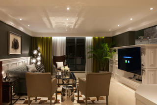 175㎡美式风格客厅装修效果图