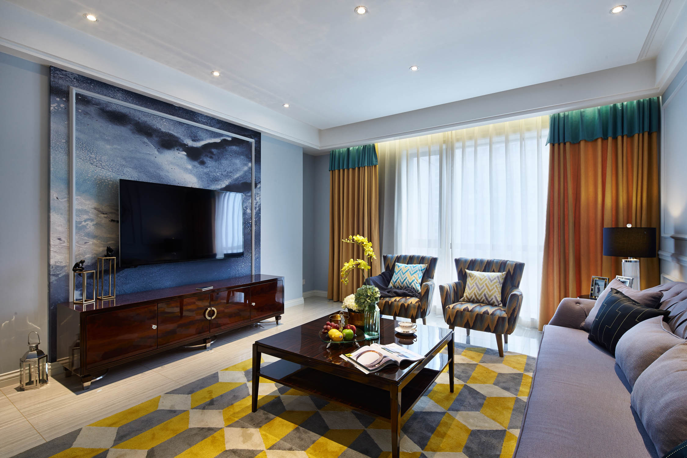美式古典四居客厅电视墙背景墙装修效果图