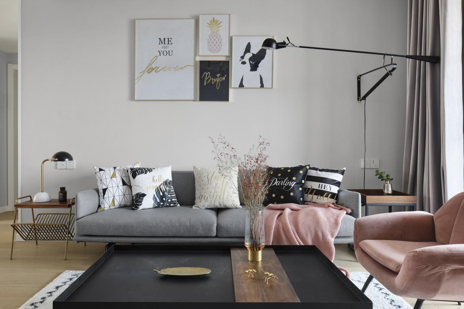 120㎡北欧风沙发背景墙装修效果图