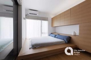 110㎡现代简约地台卧室装修效果图