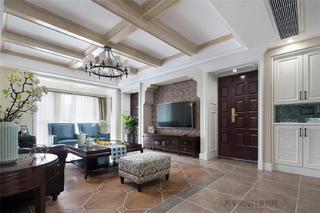 180平美式风格客厅吊顶装修效果图