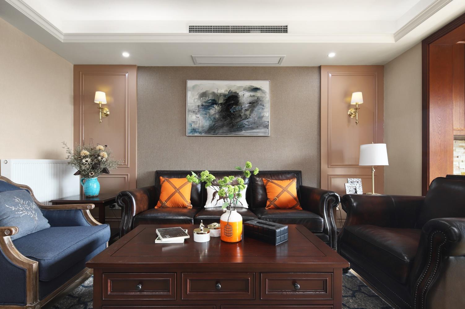 200平美式风沙发背景墙装修效果图