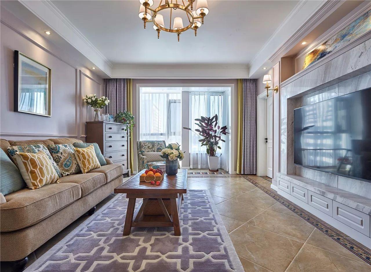 128平美式风格客厅装修效果图