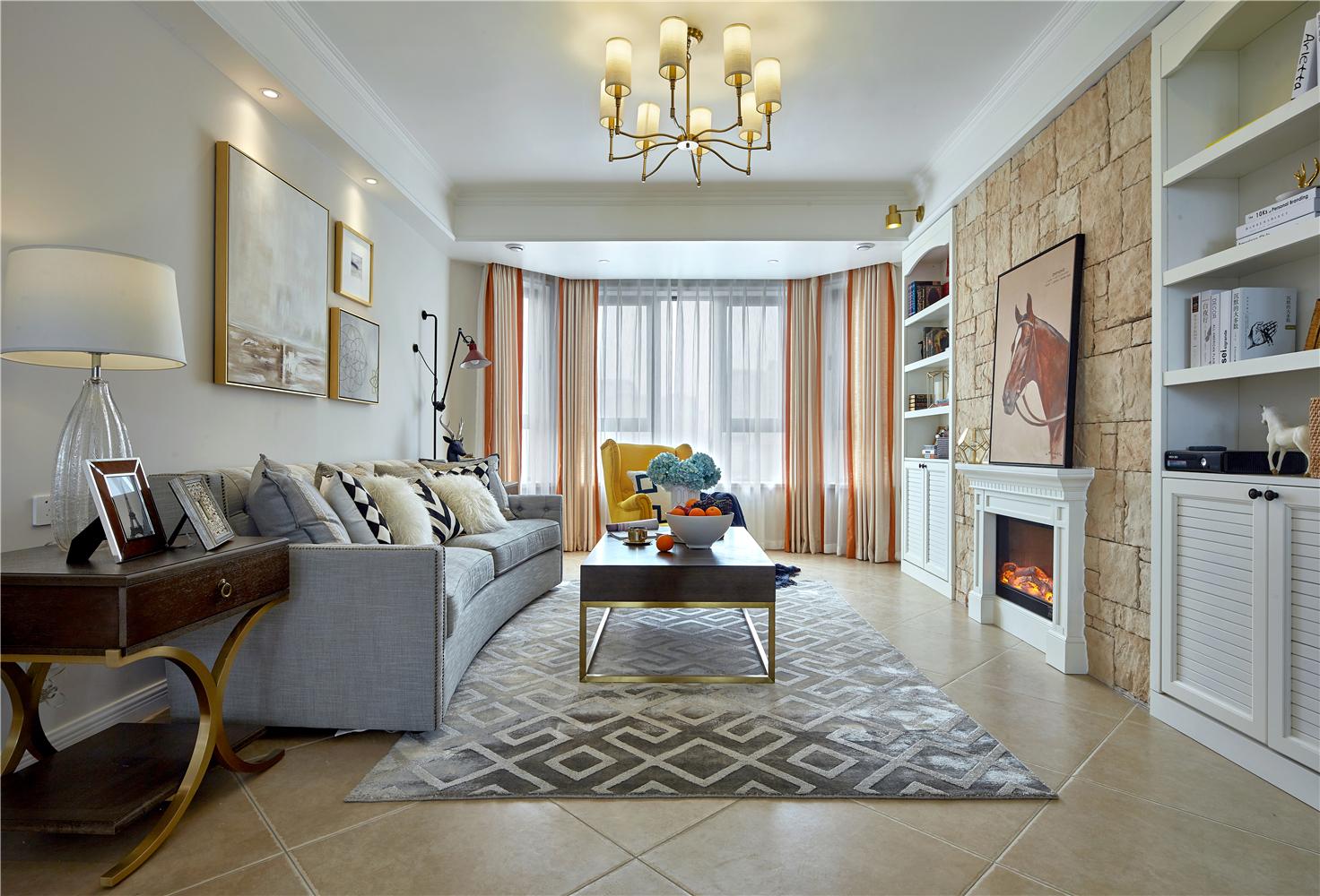 130平美式风格客厅装修效果图