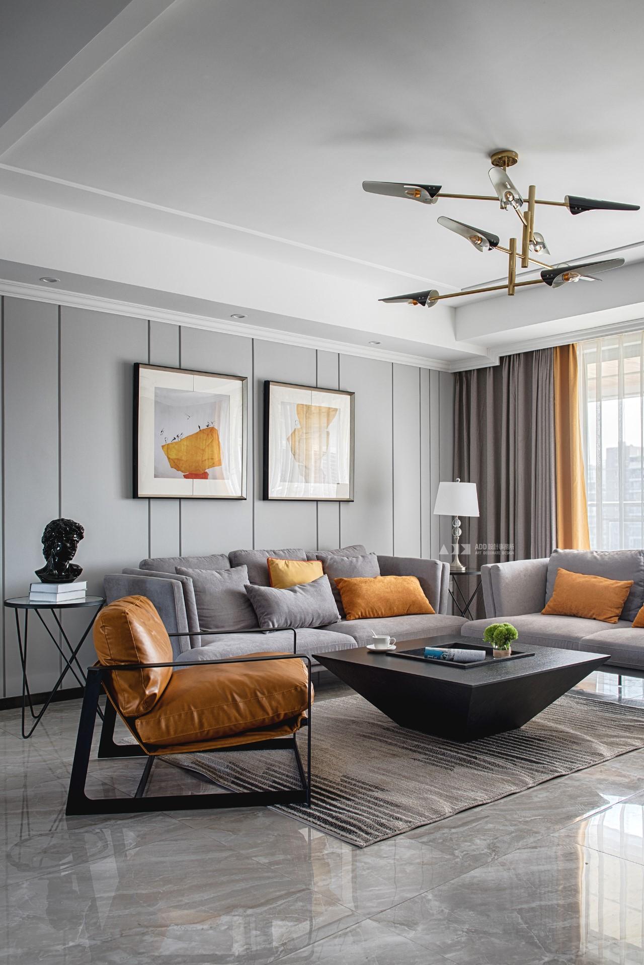 150㎡现代风格客厅沙发墙装修效果图