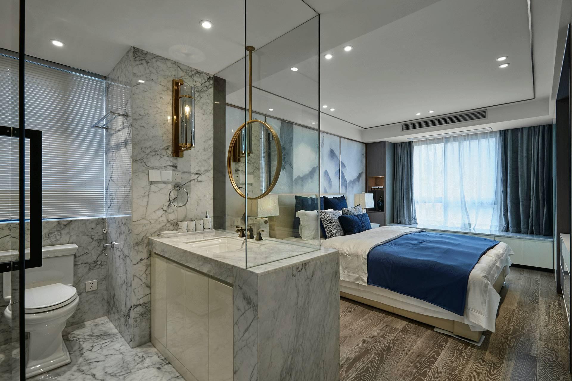 现代中式三居卧室卫生间装修效果图
