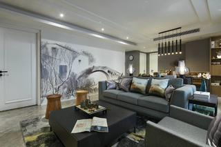 150㎡现代中式客厅装修效果图