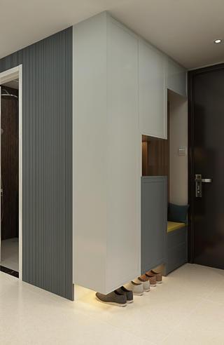 112㎡现代三居装修玄关鞋柜设计
