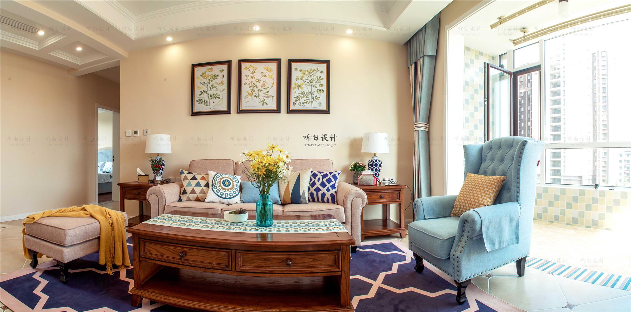 120平美式风格沙发背景墙装修效果图