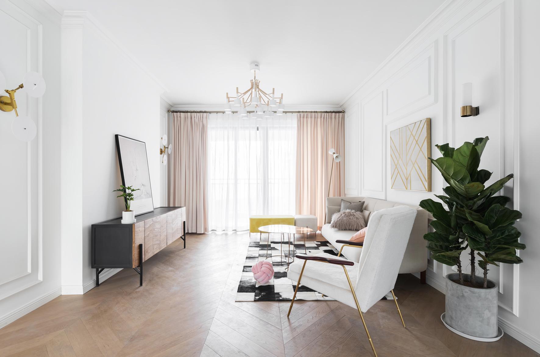 116平米三居室客厅装修效果图