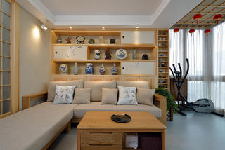 120㎡日式风格沙发背景墙装修效果图