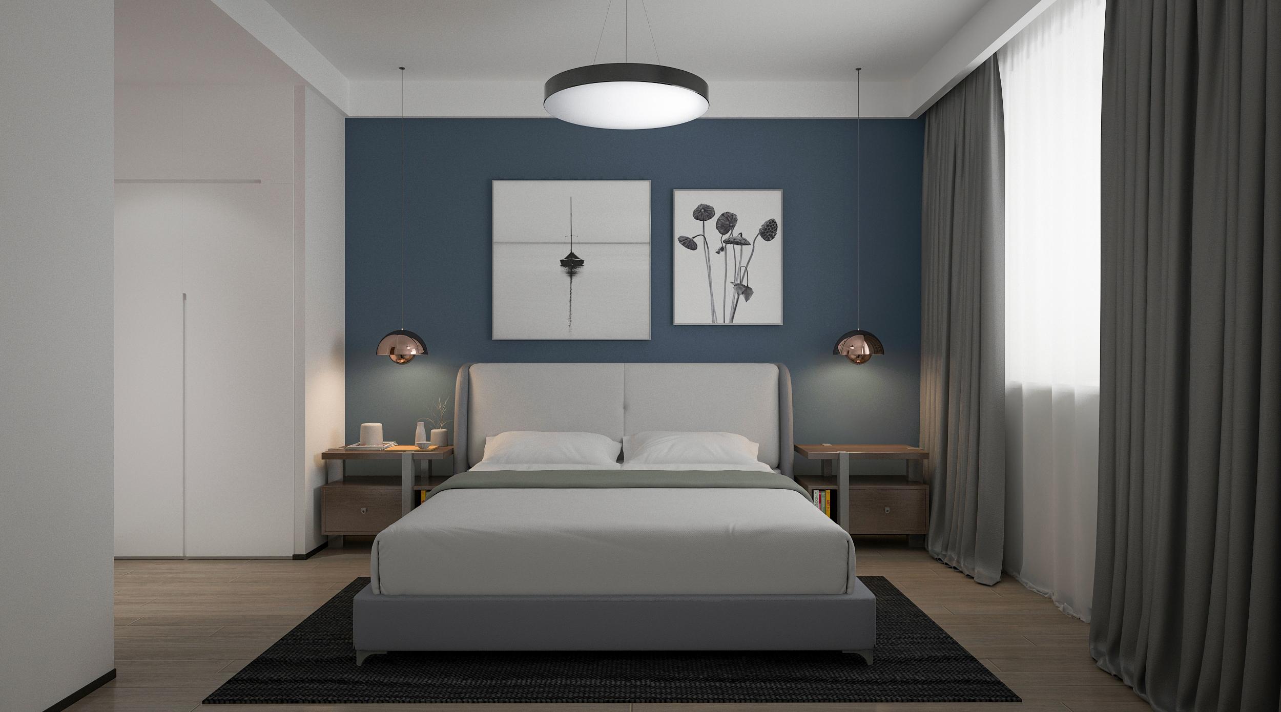 现代简约四居卧室装修效果图