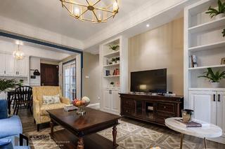 美式风格两居室电视墙装修效果图