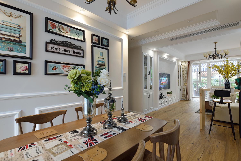美式风格二居室餐厅背景墙装修效果图