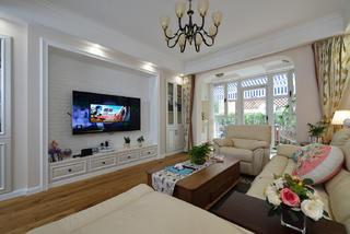 美式风格二居室电视墙装修效果图