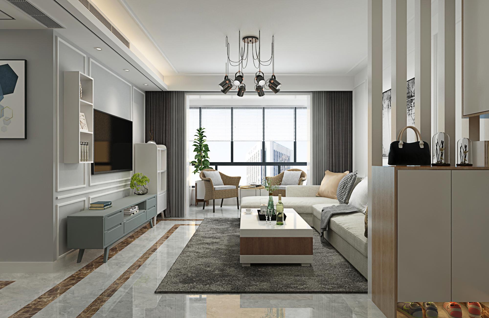 80㎡二居室客厅装修效果图