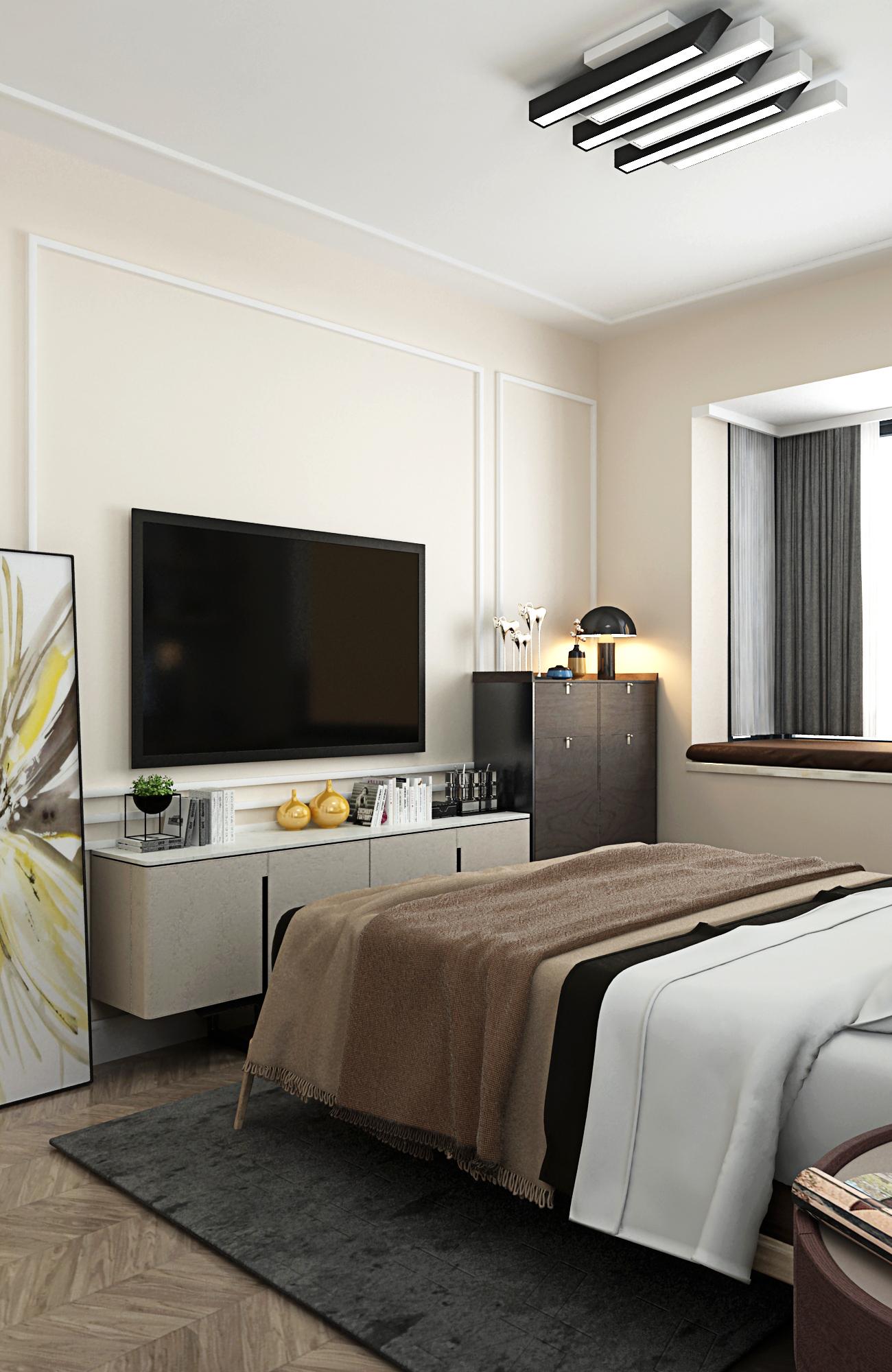 80㎡二居卧室电视墙装修效果图