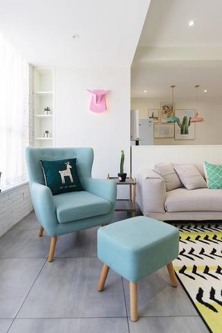 100平北欧风格装修客厅休闲一角