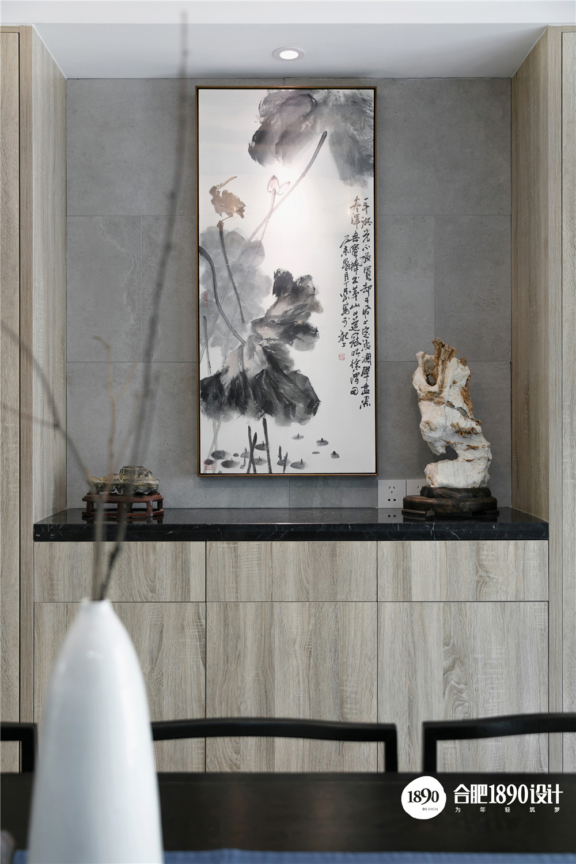 138㎡新中式风格装修餐边柜设计