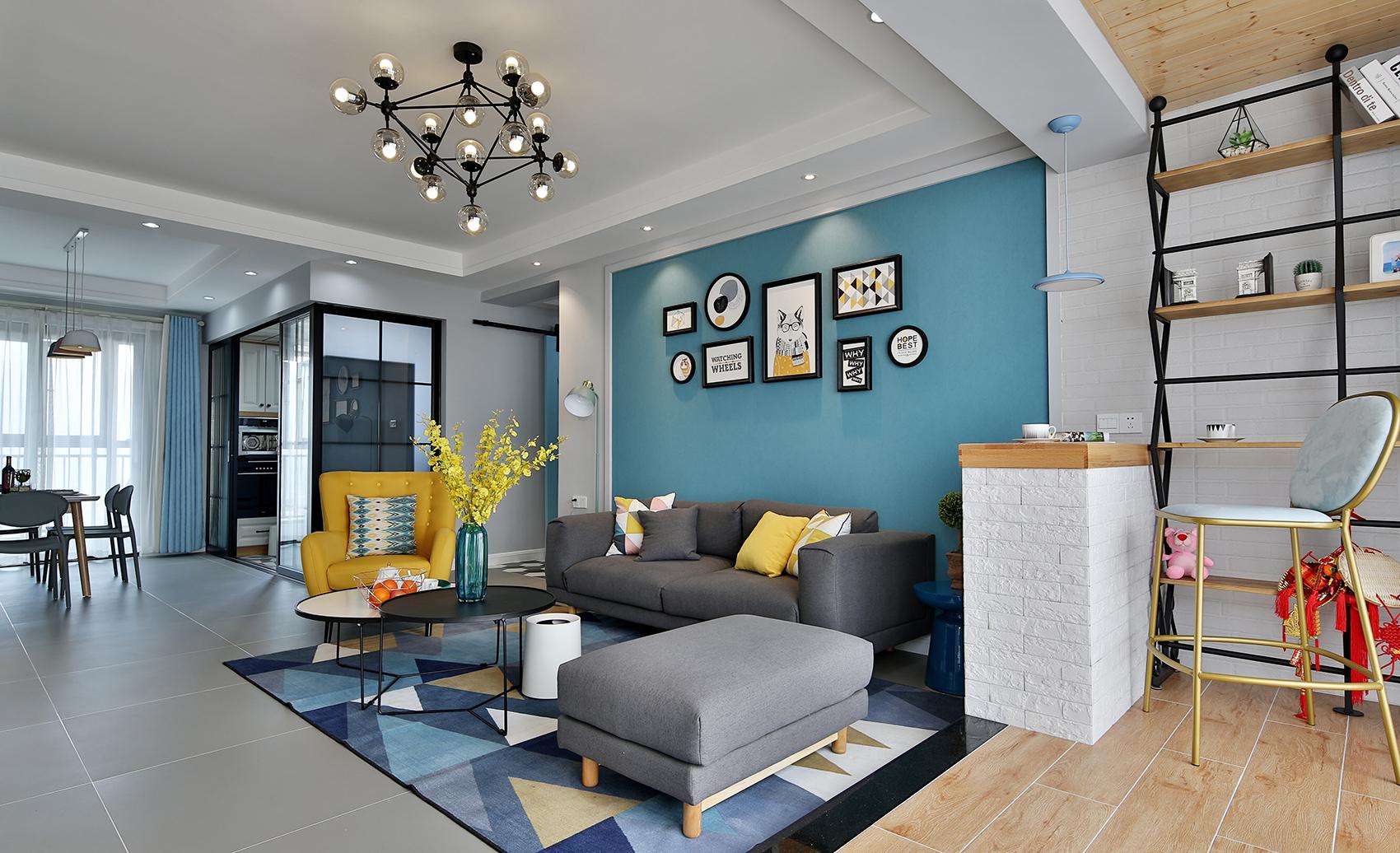 86㎡北欧风格客厅沙发墙装修效果图