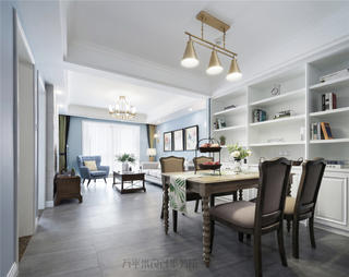 美式风格三居室客餐厅装修效果图