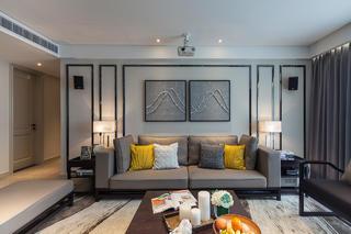 现代混搭风三居沙发背景墙装修效果图
