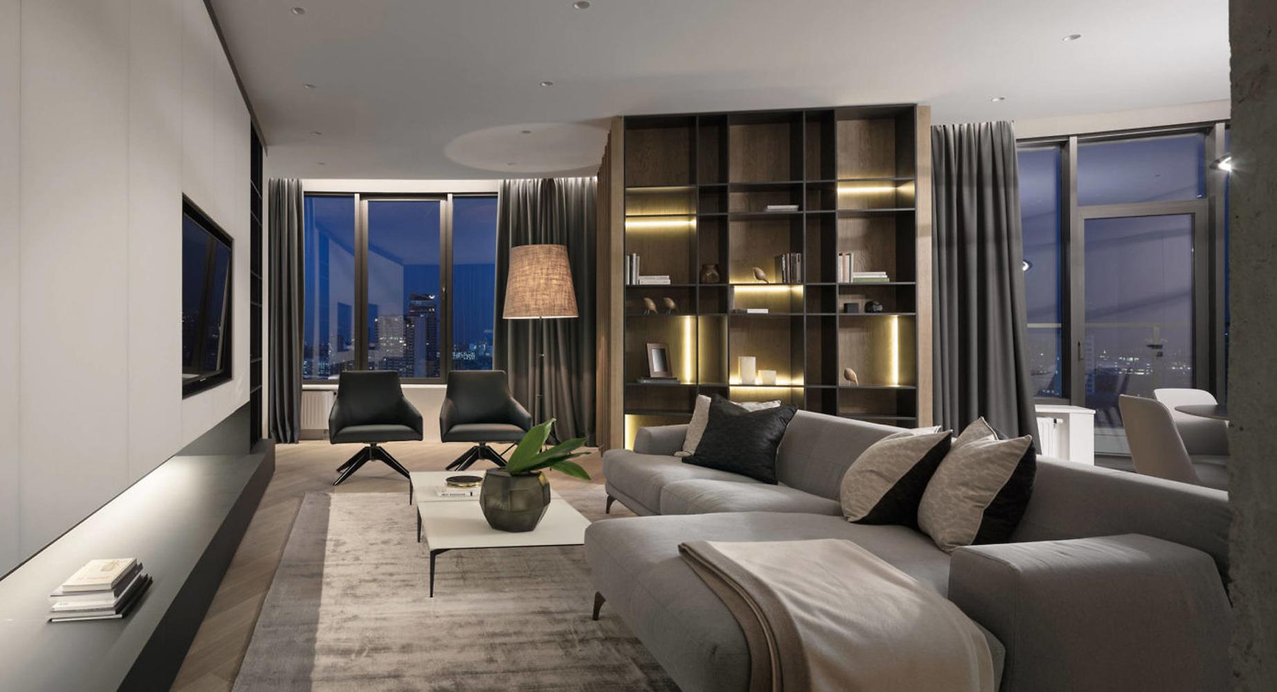 150㎡简约现代公寓客厅装修效果图