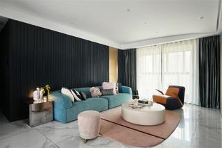 现代风三居室客厅沙发墙装修效果图