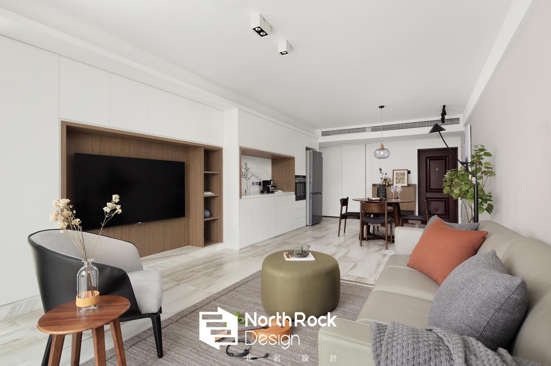 100㎡现代风三居客厅电视墙装修效果图