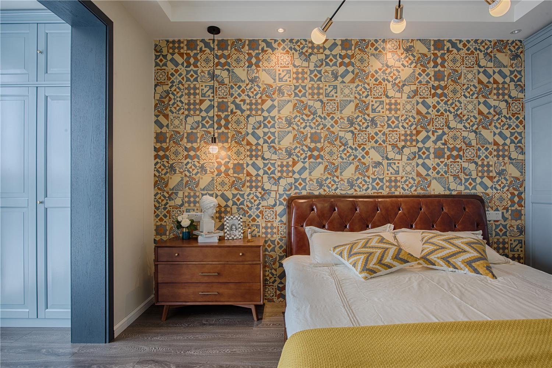 70㎡北欧波普风卧室背景墙装修效果图