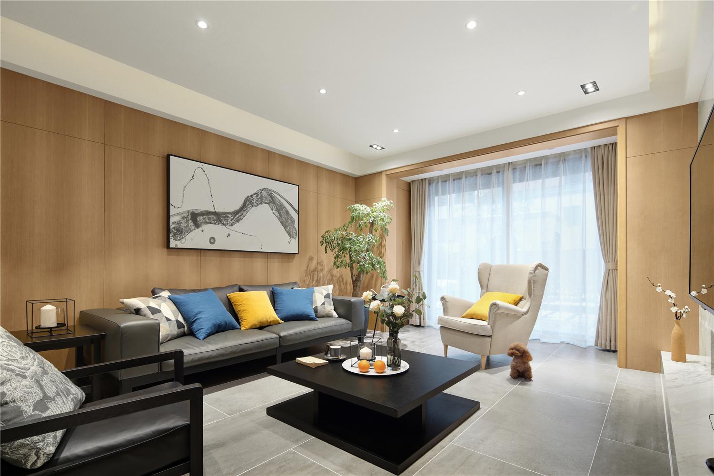 现代简约三居室客厅沙发墙装修效果图