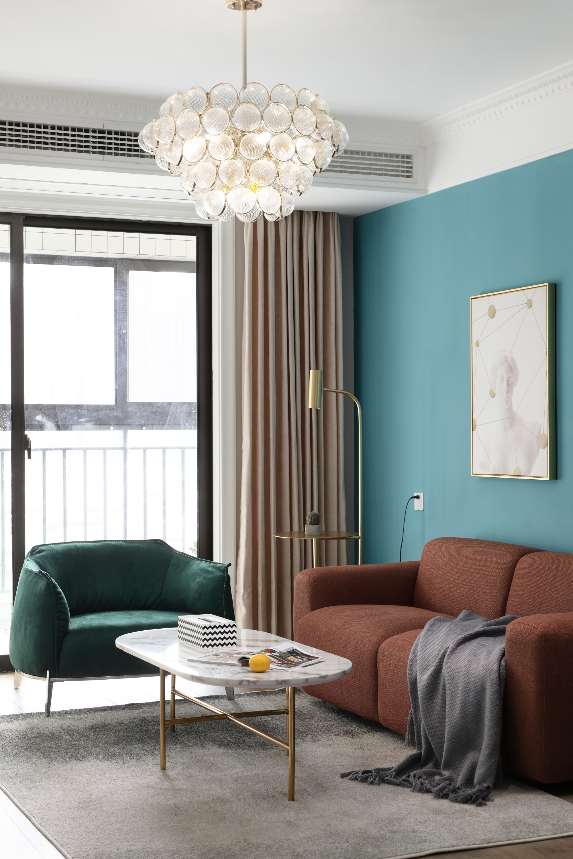 103平轻奢北欧风装修客厅吊灯设计