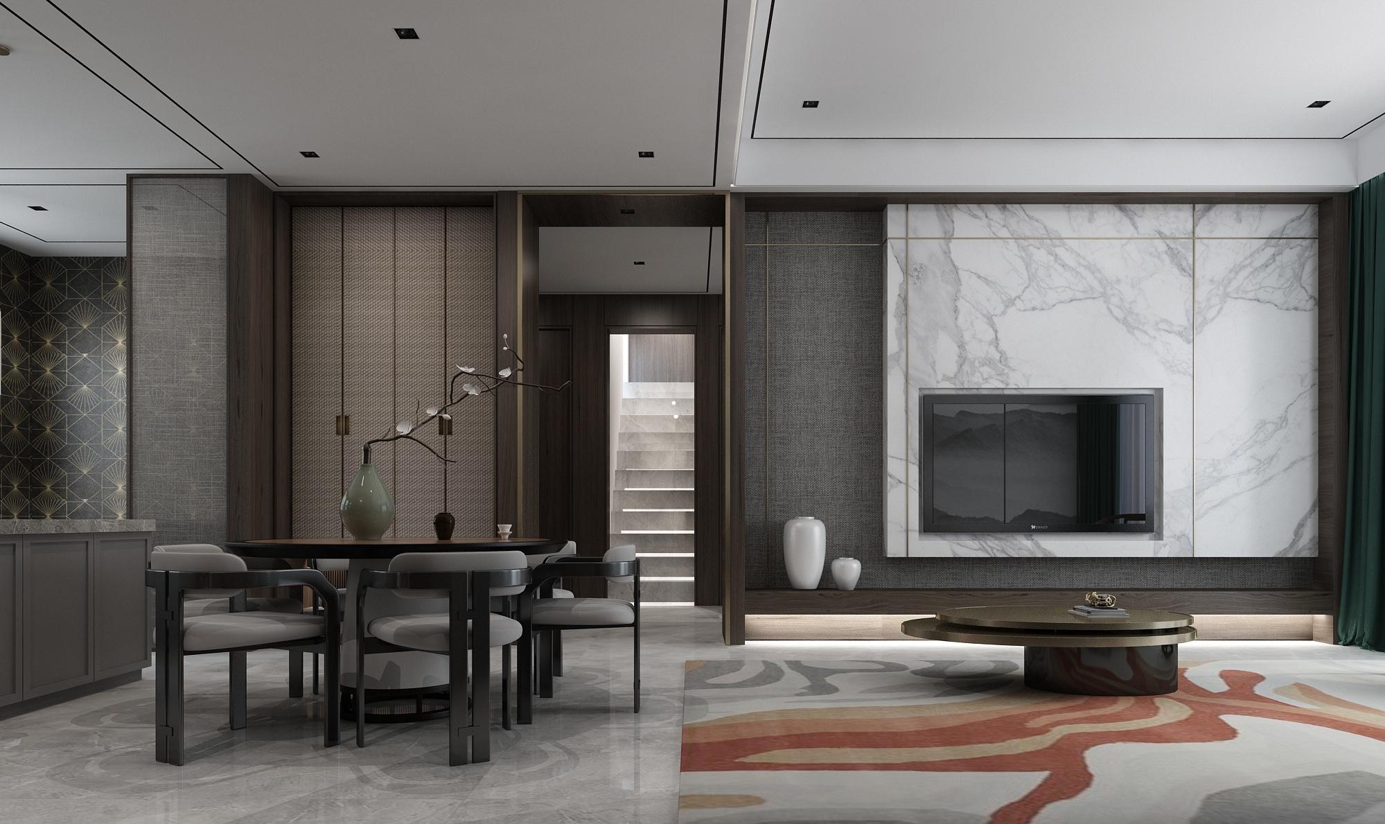 178平新中式风电视背景墙装修效果图