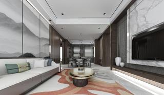 178平新中式风客厅装修效果图