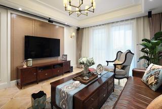 126㎡美式风格客厅电视墙装修效果图