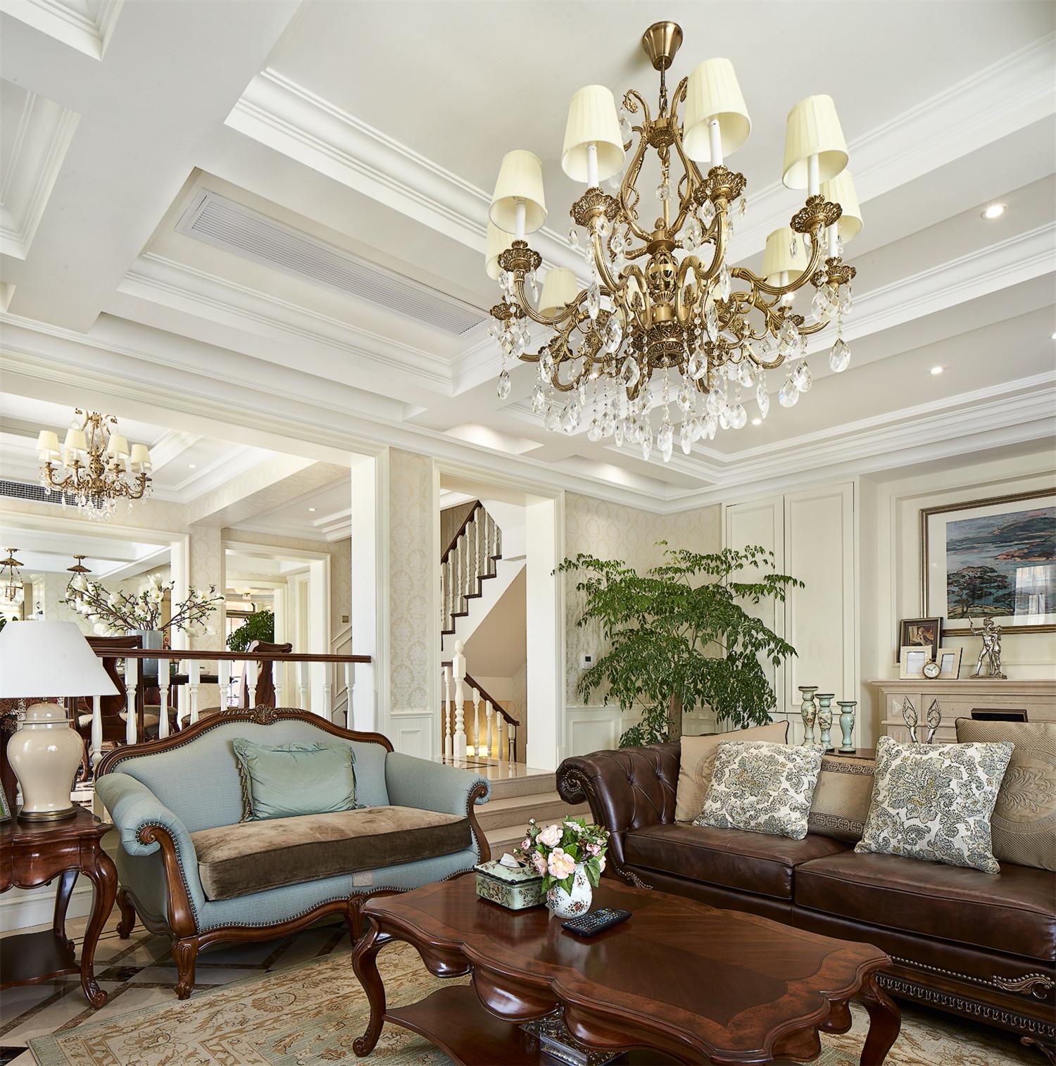美式别墅装修客厅吊灯设计