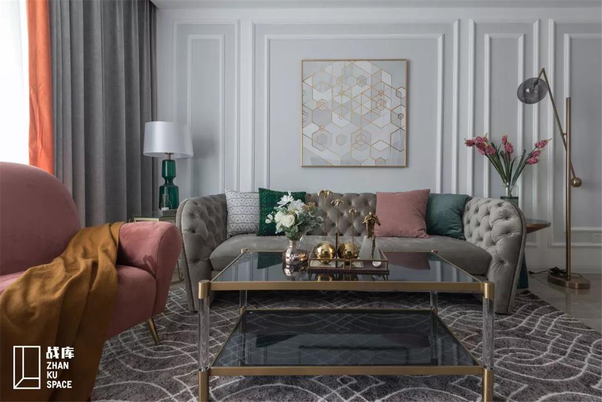 简美风格三居沙发背景墙装修效果图