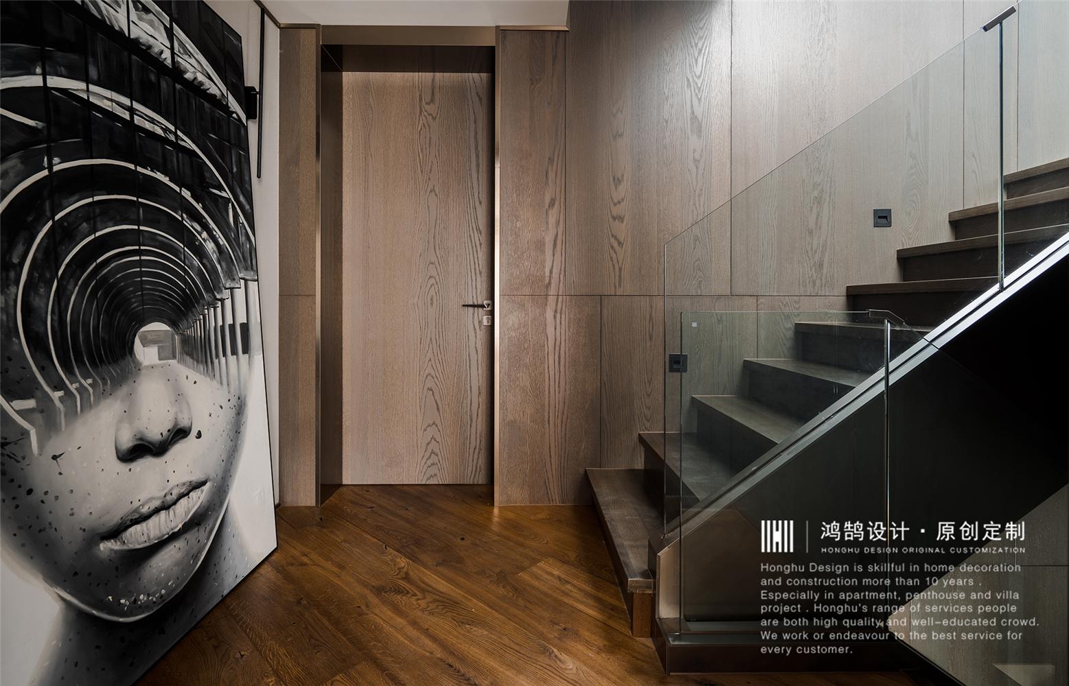现代风别墅楼梯过道装修效果图