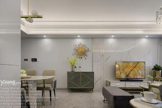 现代轻奢风三居电视背景墙装修效果图